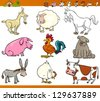 Cartoon Vector Illustration Set of Comic Farm and Livestock Animals isolated on White - stock vector