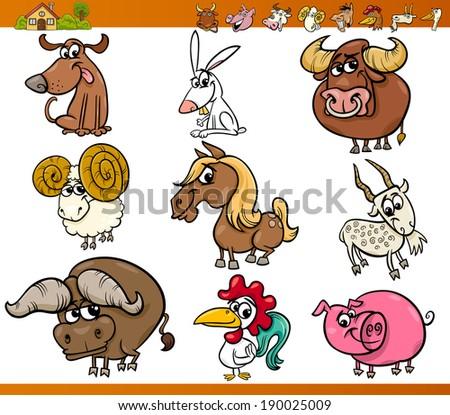 Cartoon Vector Illustration Set of Cute Farm Animals Characters - stock vector