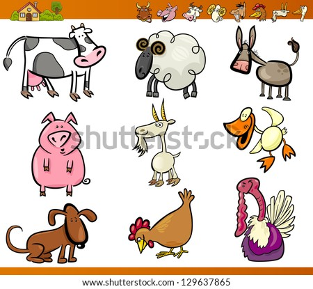 Cartoon Vector Illustration Set of Funny Farm and Livestock Animals isolated on White - stock vector