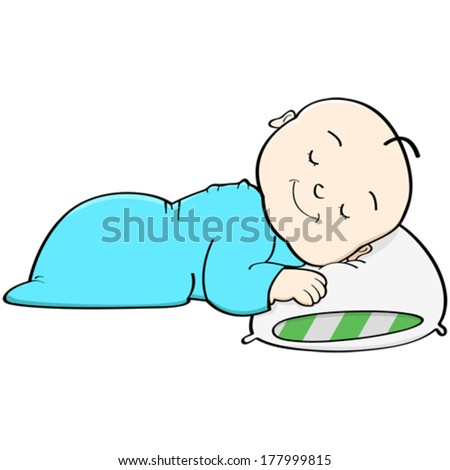 Cartoon vector illustration showing a baby sleeping with its head on a pillow - stock vector
