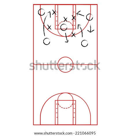 Cartoon vector illustration showing a basketball court drawn onto a clipboard with arrows representing a game plan