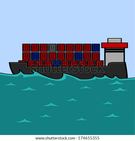 Cartoon vector illustration showing a cargo ship carrying several containers - stock vector