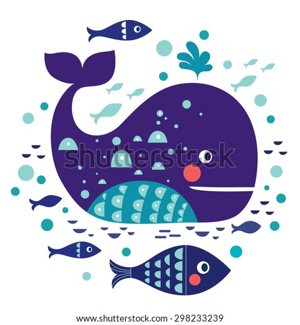 Cartoon vector illustration with whale - stock vector