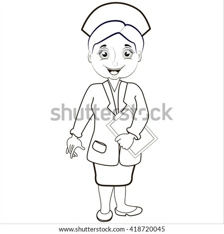 Cartoon vector Illustration.Woman pharmacist in a pharmacy on the isolated background. Health care. Isolated.Black.