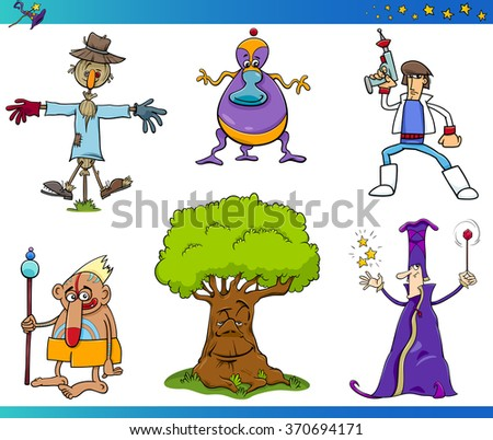 Cartoon Vector Illustrations of Fairy Tale or Fantasy Characters Set - stock vector