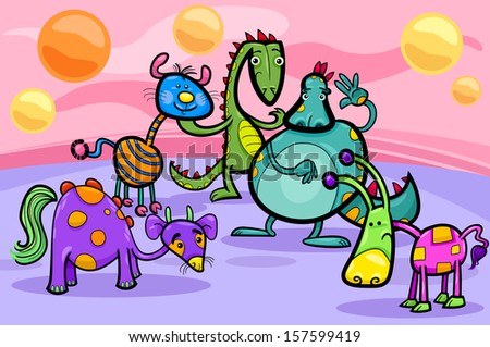 Cartoon Vector Illustrations of Fantasy Creatures Comic Mascot Characters Group for Children - stock vector