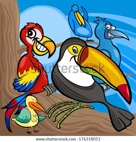 Cartoon Vector Illustrations of Funny Colorful Birds Characters Group - stock vector