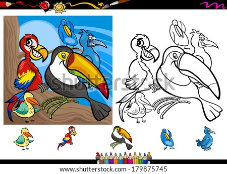 Cartoon Vector Illustrations of Funny Colorful Birds Characters Group for Coloring Book with Elements Set - stock vector