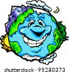 Cartoon Vector Image of a Happy Smiling Planet Earth with Mountain and Ocean - stock photo