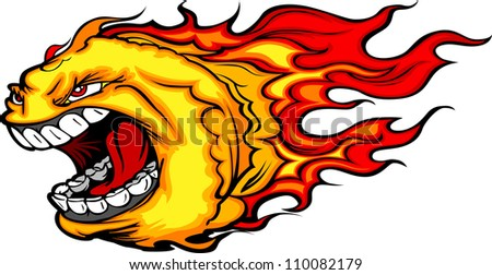 Cartoon Vector Image of a Screaming Burning Fire Ball with Flames