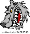 Cartoon Vector Image of a Wolf Mascot Head Snarling - stock vector