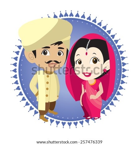 cartoon vector indian bride & groom - stock vector