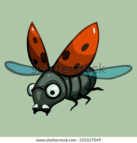 cartoon vector ladybird - stock vector