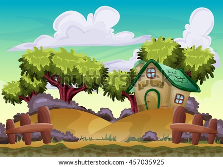 Cartoon vector landscape with separated layers for game and animation, game design asset