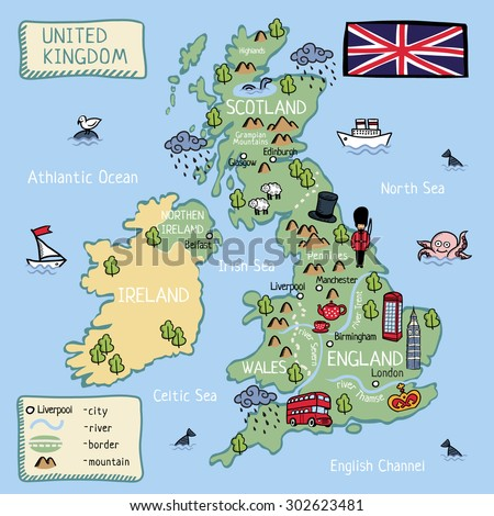 Cartoon vector map United Kingdom (England, Scotland, Wells, Northen Irland). All object isolated. - stock vector