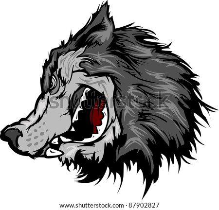Cartoon Vector Mascot Image of a Grey Wolf Head