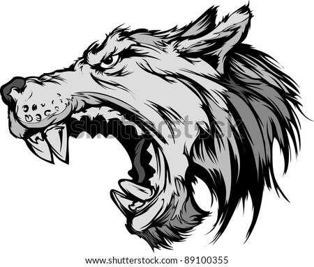Cartoon Vector Mascot Image of a Growling Grey Wolf Head - stock vector