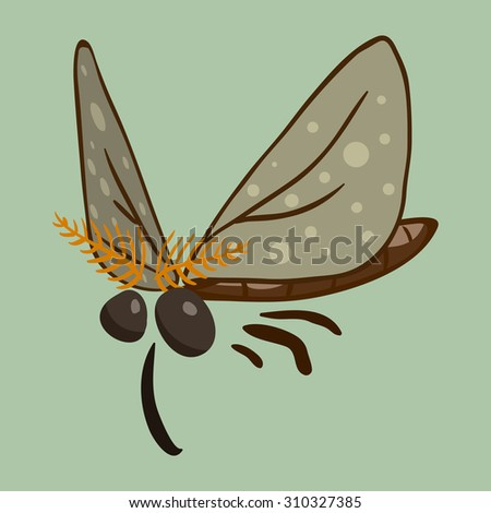 cartoon vector moth - stock vector