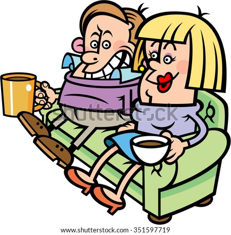 Cartoon vector of couple sitting on couch drinking tea and coffee