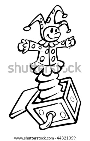 cartoon vector outline illustration Jack in the box - stock vector
