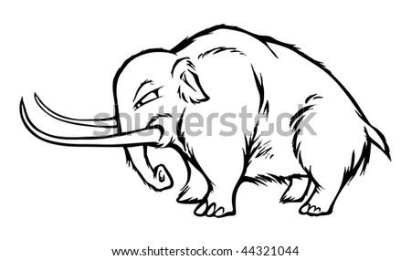 cartoon vector outline illustration mammoth - stock vector