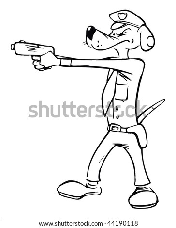 cartoon vector outline illustration police dog