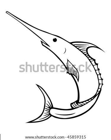 cartoon vector outline illustration swordfish marlin