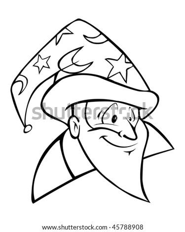 cartoon vector outline illustration wizard head - stock vector