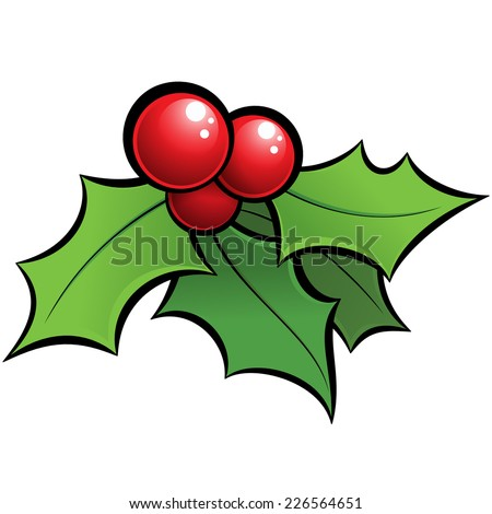 Cartoon vector red and green holi mistletoe decorative xmas ornament with black outlines - stock vector