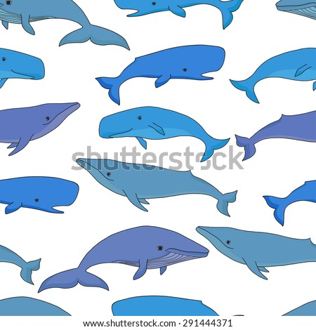 Cartoon vector sea whale and sperm whale seamless pattern. Vector sketch doodle line art. - stock vector