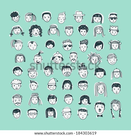 Cartoon vector set. 53 different funny faces. - stock vector