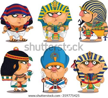 Cartoon. Vector.  Set Funny Egyptian Pharaohs. Travesty cartoon. Characters.  Isolated objects. - stock vector