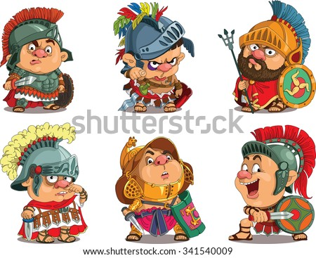Cartoon. Vector.  Set Funny gladiators.  Roman soldiers in armor. Travesty cartoon. Characters.  Isolated objects.  - stock vector