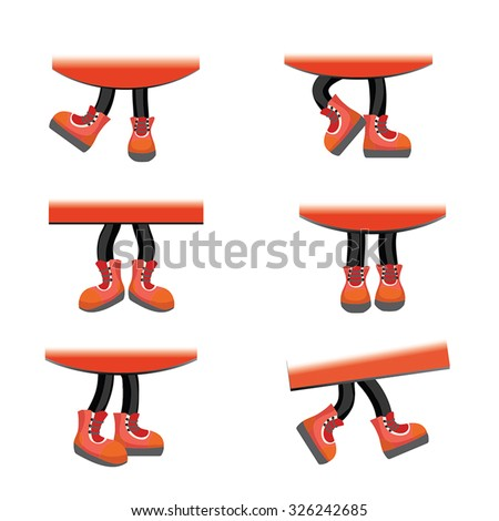 Cartoon vector walking feet in red shoes on stick legs in various positions. Vector set of funny walking legs wearing trainers or sneakers / parts of red banners for sample. Design elements set. - stock vector