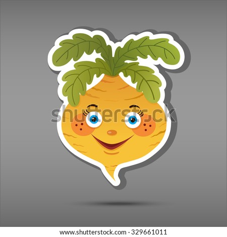 Cartoon vegatable isolated on grey background. Sticker turnip. Comic character russian tale. Funny smile vegetable in paper cut style. Applique Background - stock vector