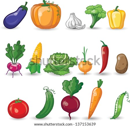Cartoon vegetables - stock vector