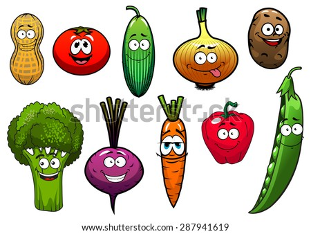 Cartoon vegetables characters with  tomato, carrot, cucumber, onion, potato, pepper, broccoli, beet, peanut, pea for agriculture or vegetarian fresh food design - stock vector