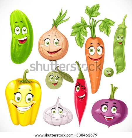 Cartoon vegetables smile garlic, hot peppers, sweet peppers, carrots, beets, onions, cucumber