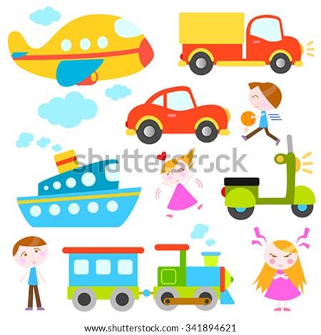 cartoon vehicles and kids vector - stock vector