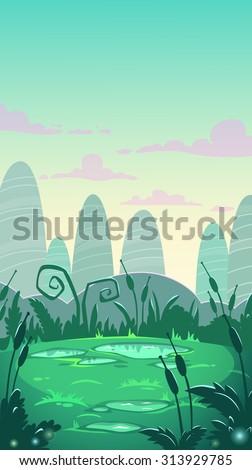 Cartoon vertical landscape illustration, vector nature background - stock vector