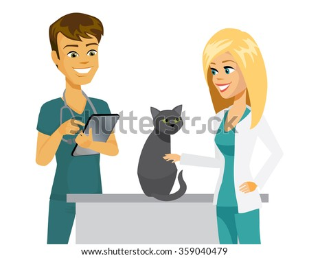 Cartoon veterinarian and vet tech taking care of a cat. Vet using digital tablet. - stock vector