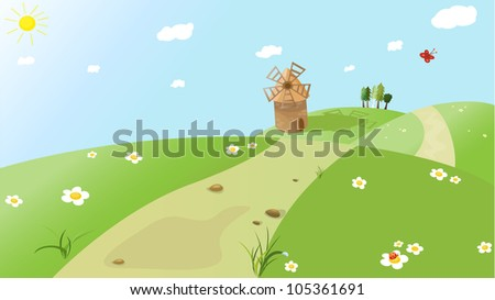 Cartoon view (vector version) - stock vector