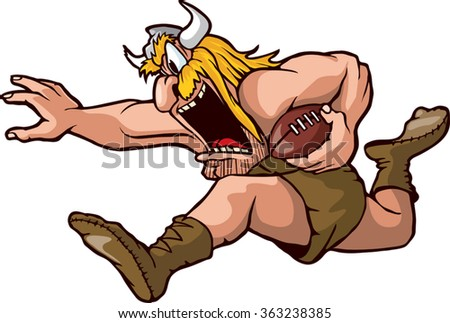 Cartoon Viking running with Football. Vector File. Running Viking  - stock vector