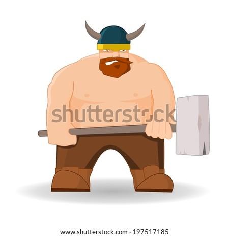 Cartoon viking with hammer  - stock vector