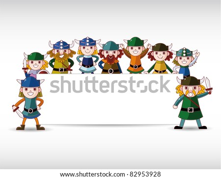 Cartoon vikings pirate,with white banner - stock vector