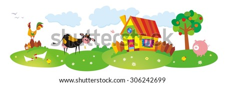 Cartoon village. Rural landscape with cow and color house. Farm animals. Vector illustration. - stock vector
