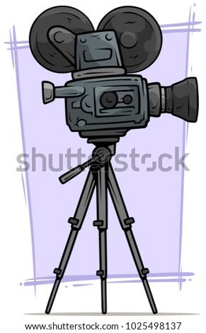 Cartoon Vintage Retro Old Fashioned Movie Film Camera On Tripod Vector Icon
