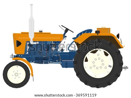Cartoon vintage tractor on a white background. Vector - stock vector