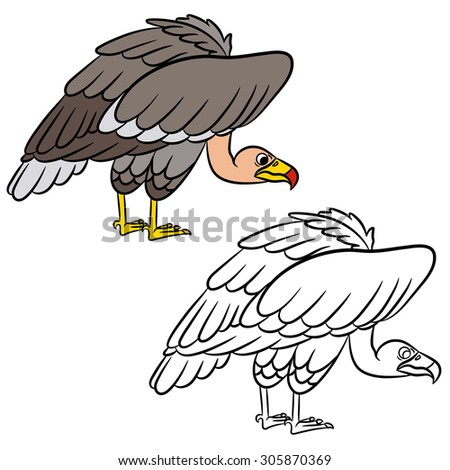 Cartoon vulture. Coloring page. Vector illustration - stock vector