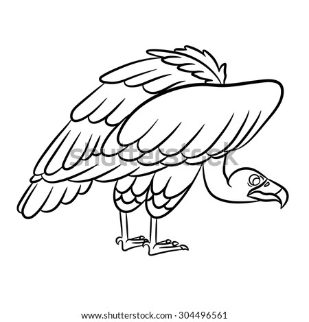 Cartoon vulture outlined. - stock vector